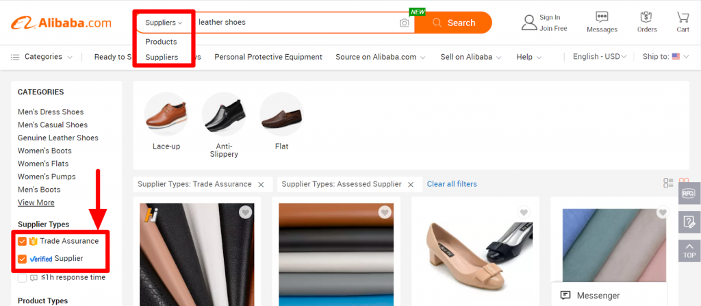 """Don't forget to change the results to """"Suppliers"""" and check the """"Trade Assurance"""" and """"verified Supplier"""" boxes."""